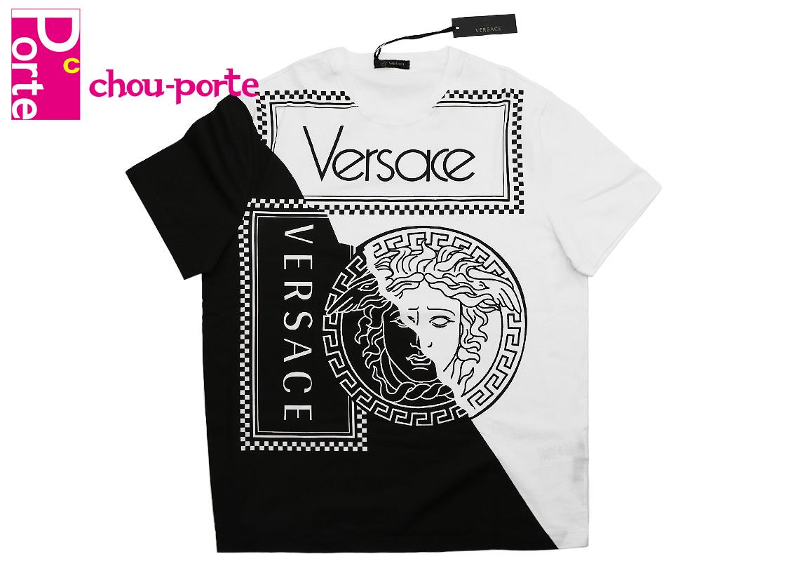 【未使用品】 VERSACE (ヴェルサーチ) カラーブロックメデューサプリントTシャツ 半袖 ホワイト×ブラック コットンジャージー Lサイズ メンズ