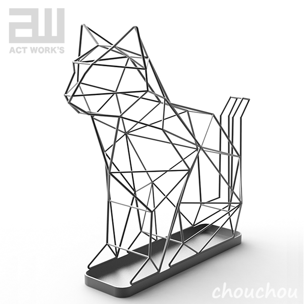 act work's シャドーワイヤー キャット 傘立て 【アクトワークス 玄関収納 デザイン雑貨 モダン インテアリア レインラック 傘入れ 北欧 actwork's actworks UMBRELLA STAND CAT】