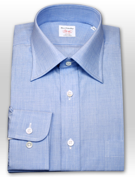 SHIRT MAKER CHOYA면100%: 일본제 천/일본 봉제 귀얄로 바른 자국・레귤러 칼라・드레스 셔츠(블루) CHOYA1886(cvd771-150)