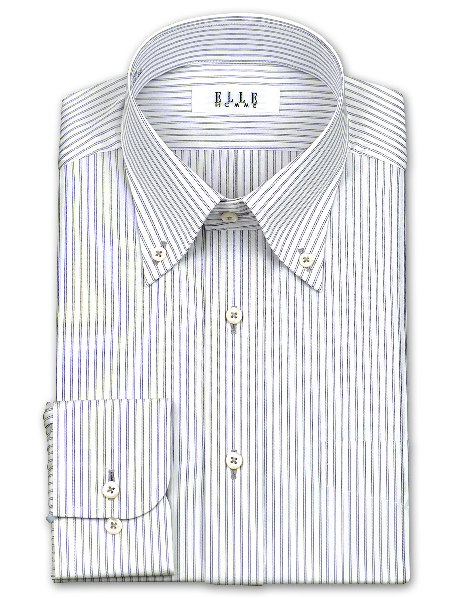 ★New product ★ ELLE HOMME TC form processing water absorption fast-dry ゆったり long sleeves monotone stripe button-down shirt (business shirt shirt Y shirt dress shirt) (zed351-480) becoming stable