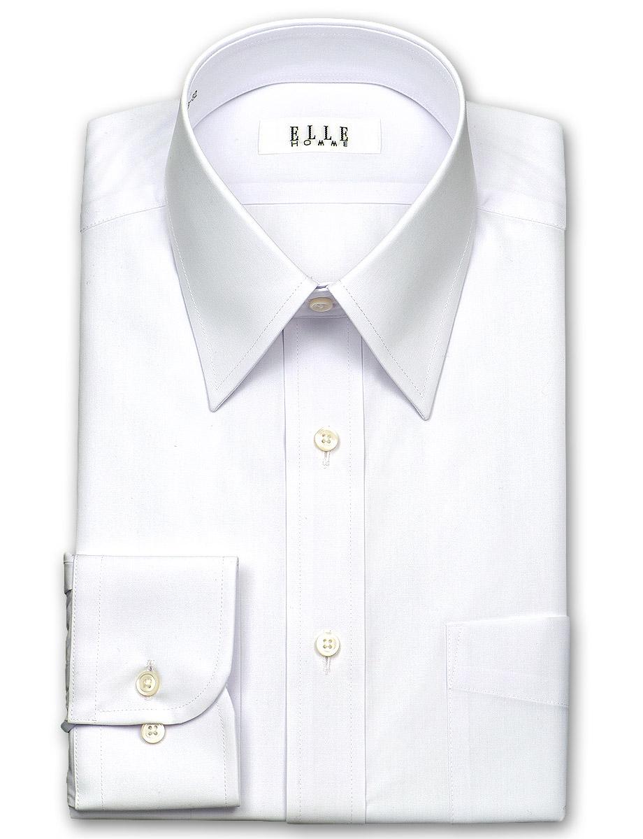 ELLE HOMME 長袖 ワイシャツ メンズ 春夏秋 形態安定加工 涼感素材 ゆったり 白ブロード レギュラーカラー | 綿:50% ポリエステル:43% レーヨン:7% ホワイト 高級 上質 (zed410-100)