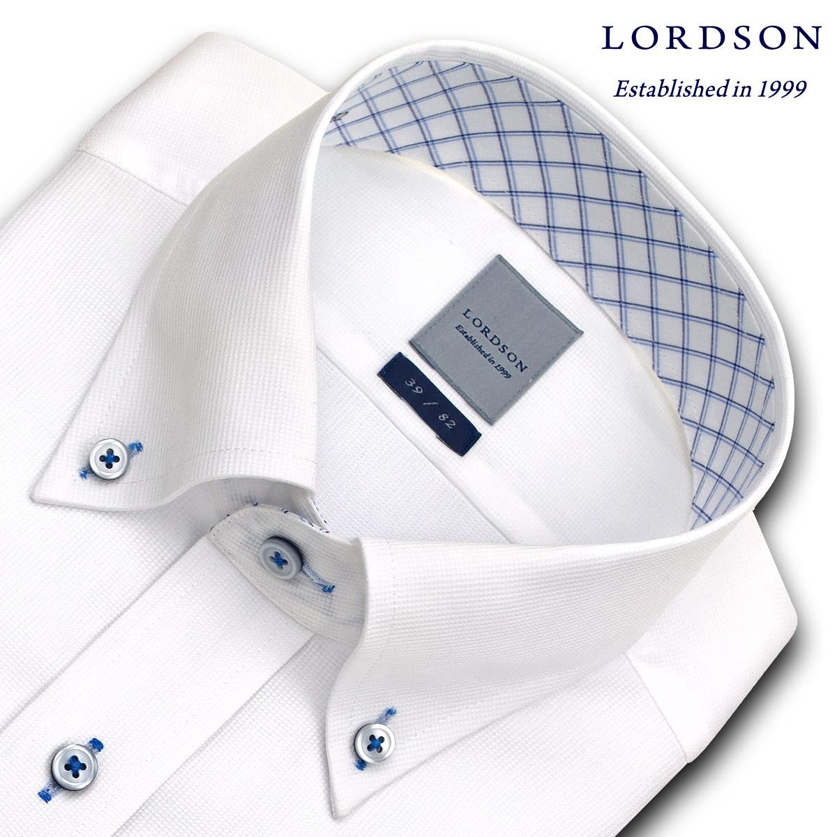 LORDSON 長袖 ワイシャツ メンズ 春夏秋 形態安定加工 吸水速乾 白ドビー ボタンダウンシャツ|綿:100% ホワイト(zod382-200)