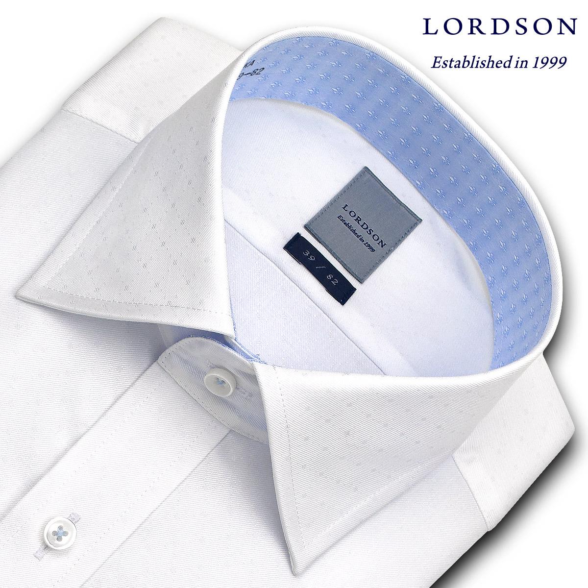 LORDSON 長袖 ワイシャツ メンズ 春夏秋冬 形態安定加工 バイアスチェック白ドビー ワイドカラーシャツ|綿:100% ホワイト(zod394-200)