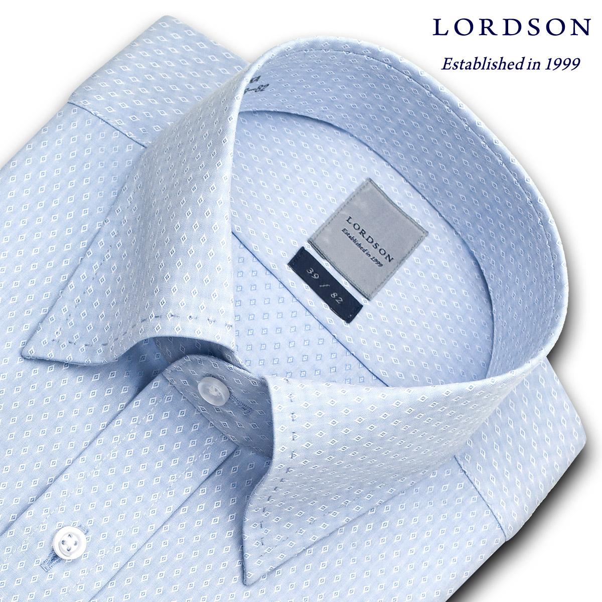 LORDSON 長袖 ワイシャツ メンズ 春夏秋冬 形態安定加工 ブルー幾何ドビー スナップダウンシャツ|綿:100% ブルー(zod398-250)