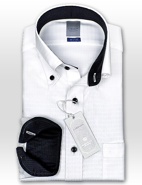 LORDSON cotton 100% form stability processing standard body white dobby button-down collar dress shirt (zod911-200) [convenience store receipt-adaptive product] [the Rakuten card division]