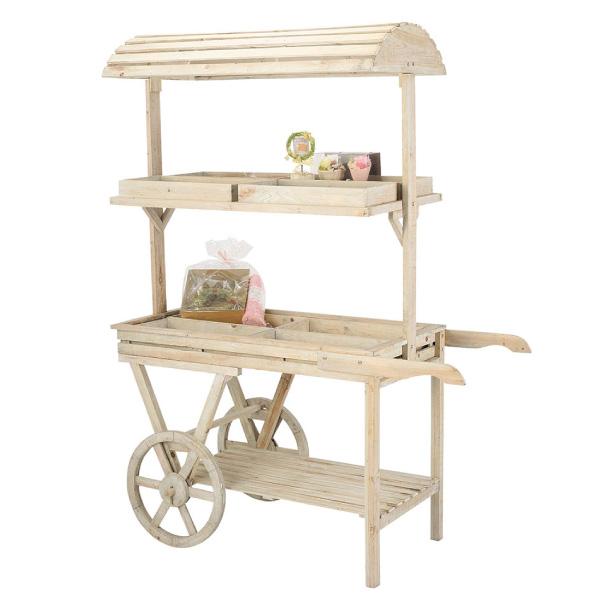【店舗用】簡単おしゃれな木製ディスプレイ什器 ウッドカート 雑貨屋さん お花屋さん