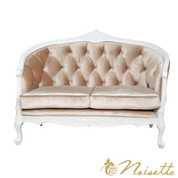 エレガントなカーブが美しいソファ アンティーク加工 白家具 シャビー ブロカント ホワイト 幅140cm 光沢感のあるベロア仕様2~3人掛け