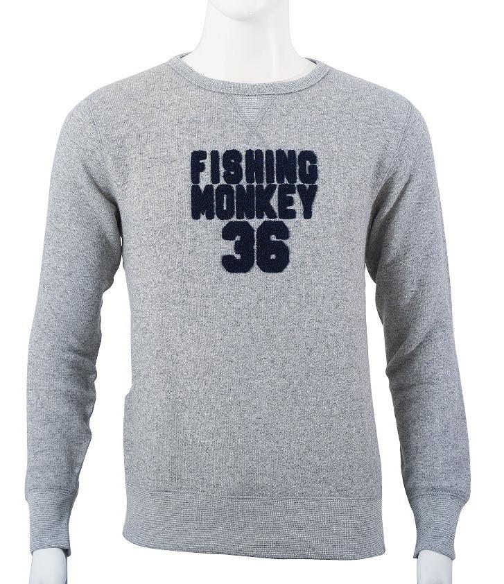 サガラ刺繍 トレーナー グレー フィッシングモンキー/FISHING MONKEY