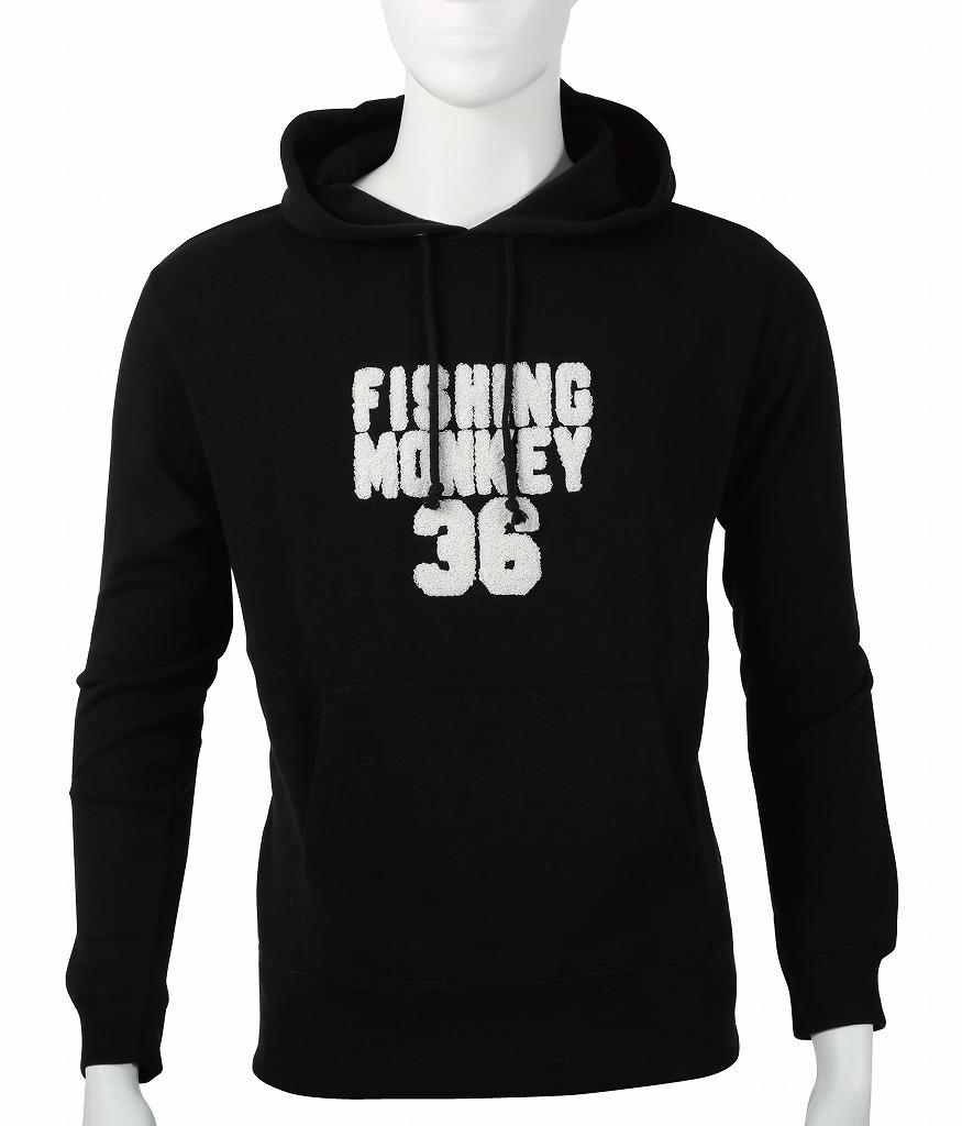 サガラ刺繍 パーカー ブラック フィッシングモンキー/FISHING MONKEY