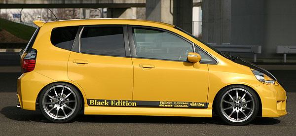 フィット GD1~4 サイドステップ 塗装済 乱人 ブラックエディション