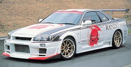 GT-R BNR34 フロントバンパースポイラー 塗装済 ランドスポーツ 乱人