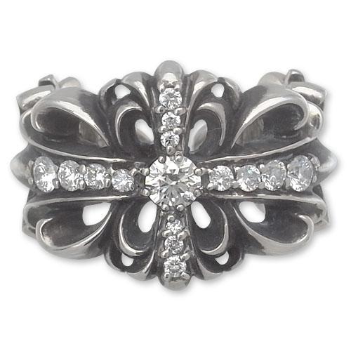 CHRONO Original(クロノオリジナル):Double Floral Cross Ring w/Pave Diamond(ダブルフローラルクロスリングw/パヴェダイヤモンド)