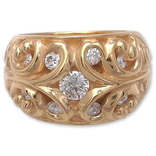 CHRONO Original(クロノオリジナル):Rimmed Filigree Ring/22K Gold Plate w/9 Diamond(リムドフィリグリーリング/22Kゴールドコーティングw/9ダイヤモンド)