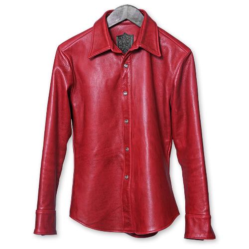 【Rizard Head リザードヘッド Leather Shirts レザーシャツ】レザーシャツ/スムースバックレザー/クリムゾンレッド【送料無料】