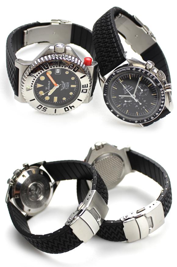 バネ棒付き 時計 ベルト 腕時計 イタリア BC ボネットシンチュリーニ トレッドパターン ラバー素材 ストラップ ダイバーズ 20mm 18mm ブラック