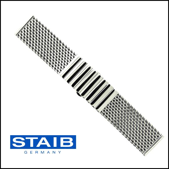 バネ棒付き 時計 ベルト 腕時計 ドイツ HERMANN STAIB ハーマンステイブ プッシュ式バックル ステンレス メッシュ メタル 金属 ステンレス ブレスレット ミラネーゼ 18mm 20mm 22mm 24mm
