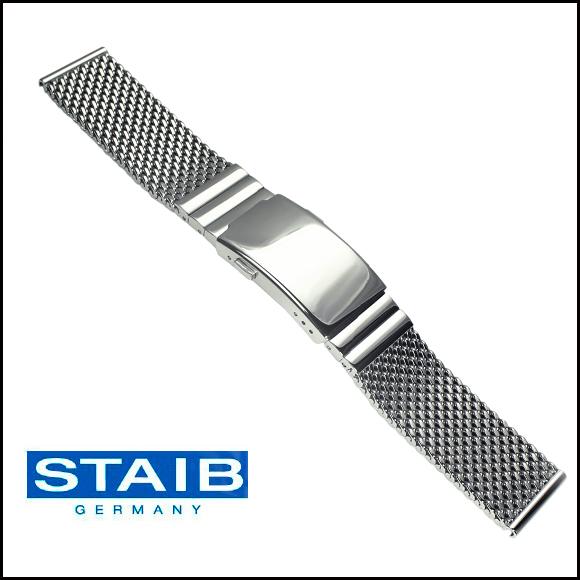 バネ棒付き 時計 ベルト 腕時計 ドイツ HERMANN STAIB ハーマンステイブ プッシュ式Dバックル ステンレス メッシュ メタル 金属 ステンレス ブレスレット ダイバーズエクステンション ミラネーゼ 18mm 20mm