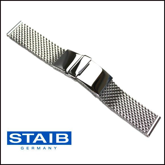バネ棒付き 時計 ベルト 腕時計 ドイツ HERMANN STAIB ハーマンステイブ セーフティ付プッシュ式 ステンレス Dバックル メッシュ メタル 金属 ステンレス ブレスレット ミラネーゼ 20mm 22mm 24mm