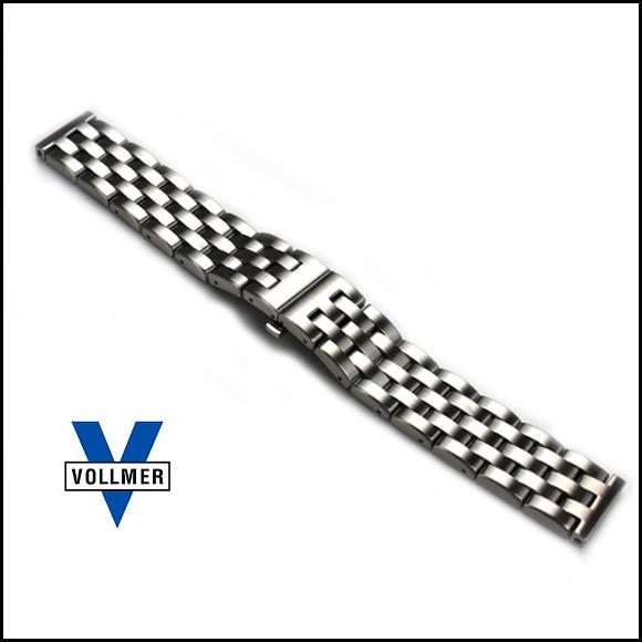 バネ棒付き 時計 ベルト 腕時計 バンド ドイツ Vollmer ヴォルマー ヘビーデューティ 5連 プッシュバックル ブレスレット ステンレス 20mm 22mm