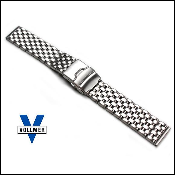バネ棒付き 時計 ベルト 腕時計 バンド ドイツ Vollmer ヴォルマー ヘビーデューティ 7連 Dバックル ブレスレット ステンレス 20mm 22mm