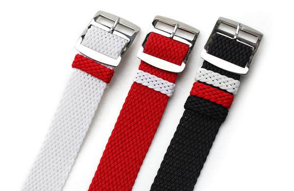 バネ棒付き 時計 ベルト 腕時計 バンド チャリティー パーロンストラップ AIR NATO PERLON STRAP 20mm ブラックホワイト