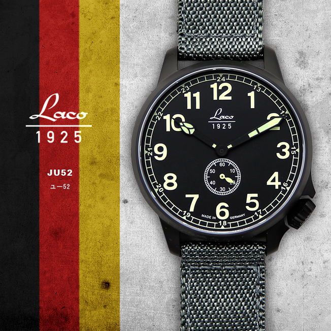 時計 腕時計 ミリタリーウォッチ ドイツ LACO ラコ 861908 JU52 ユー52 自動巻き オートマチック オリジナルストラップ付き