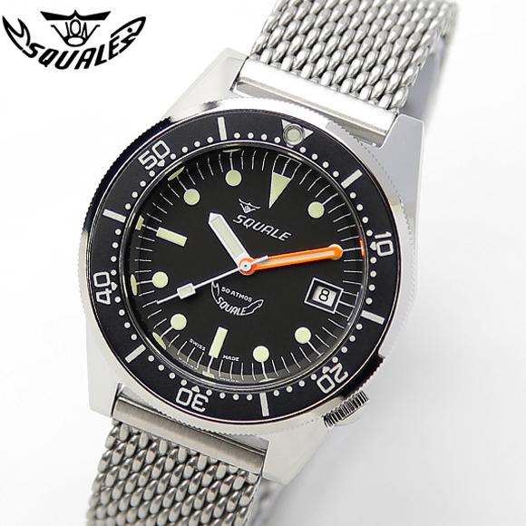 時計 腕時計 ダイバーズ イタリア SQUALE スクワーレ PROFESSIONAL プロフェッショナル ブラック×ブラック 1521-026 ダイバーズ 500m防水 メッシュブレス AUTOMATIC 自動巻き