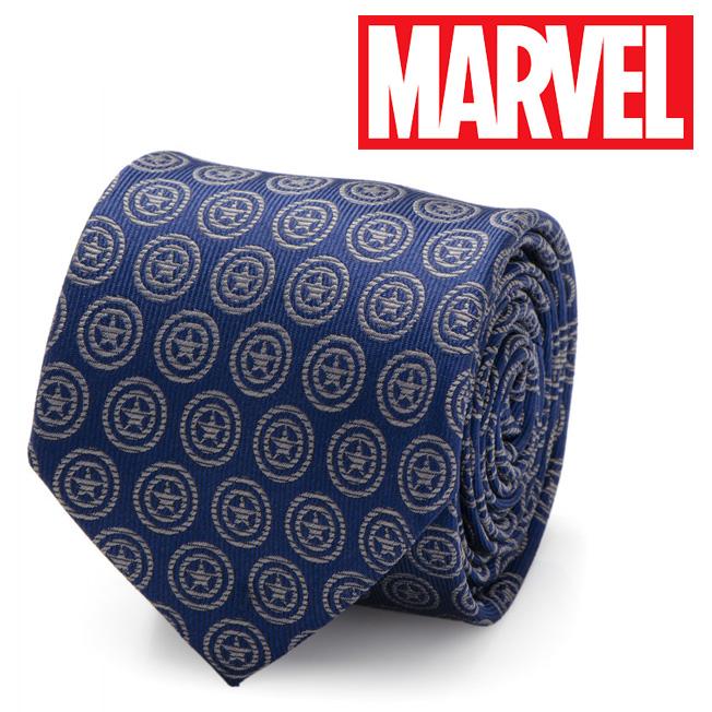 メンズ 紳士 ネクタイ シルク Various Licensed Captain America Shield Blue Tie マーベル MV-CAS2-BL-TR キャプテン アメリカ シールド アベンジャーズ シールド ブルー