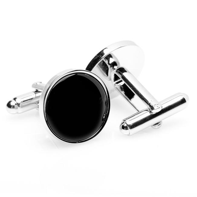 カフス カフリンクス カフスボタン Various Licensed アクセサリー Silver and Onyx Cufflinks シルバー オニキス ブラック OB-ONX-SL