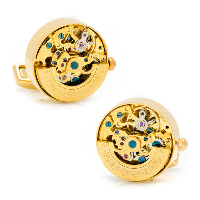アクセサリー カフス カフリンクス カフスボタン Various Licensed Stainless Steel Gold on Gold Kinetic Watch Movement Cufflinks ウォッチムーブメント ゴールド PB-KWM-GOLD【P10】