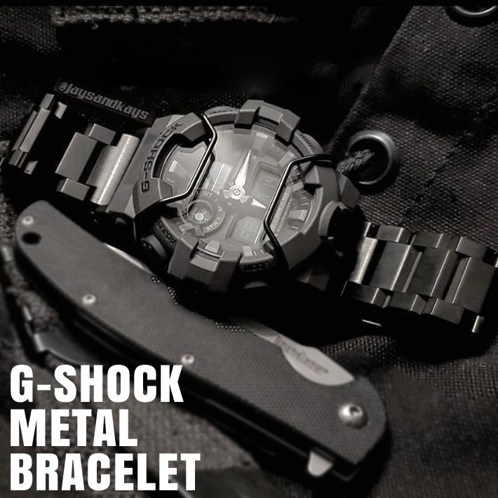 Gショック専用 メタル ブレスレット ステンレス コマピン外し クイックバネ棒付 20mm 24mm GSHOCK スピード対応 全国送料無料 22mm セール品 PVD G-SHOCK BLACK