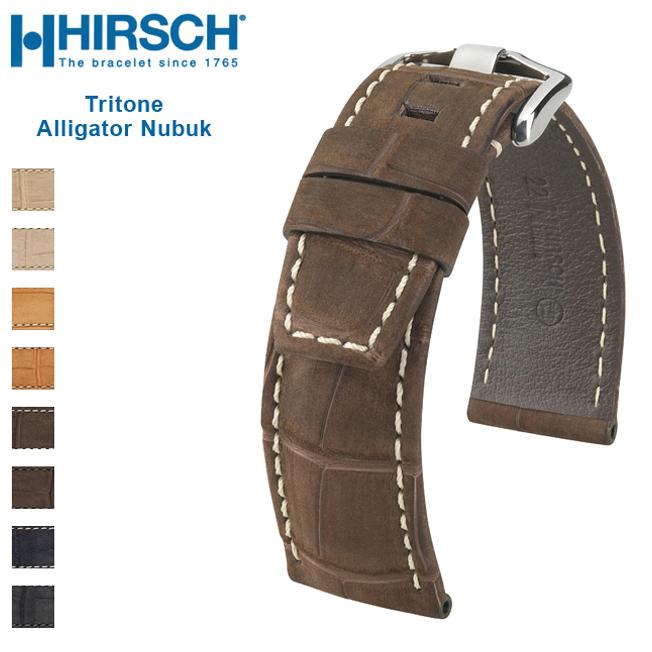 バネ棒付き 時計 ベルト 腕時計 HIRSCH ヒルシュ Selection Tritone Alligator Nubuk トリトン アリゲーター ヌバック レザー革 22mm 24mm ブラック ブラウン ベージュ