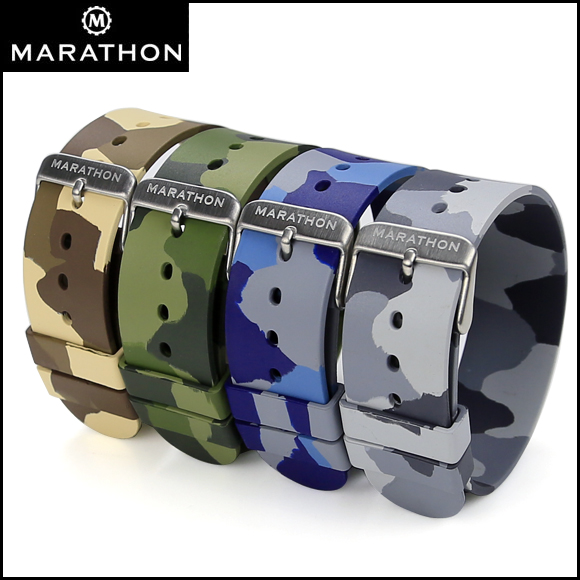 バネ棒付き 時計 ベルト 腕時計 ミリタリーウォッチ アメリカ軍 MARATHON Camouflage Rubber Strap マラソン カモフラージュ ラバー ゴム ストラップ 20mm