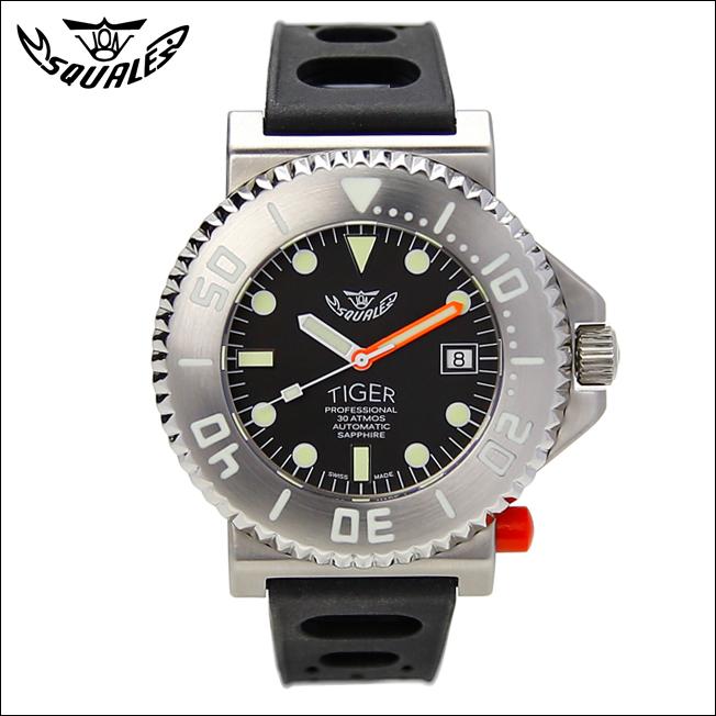 時計 腕時計 ダイバーズ イタリア SQUALE スクワーレ TIGER BLACK タイガーブラックダイヤル ダイバーズ 300m防水 AUTOMATIC 自動巻き【P10】
