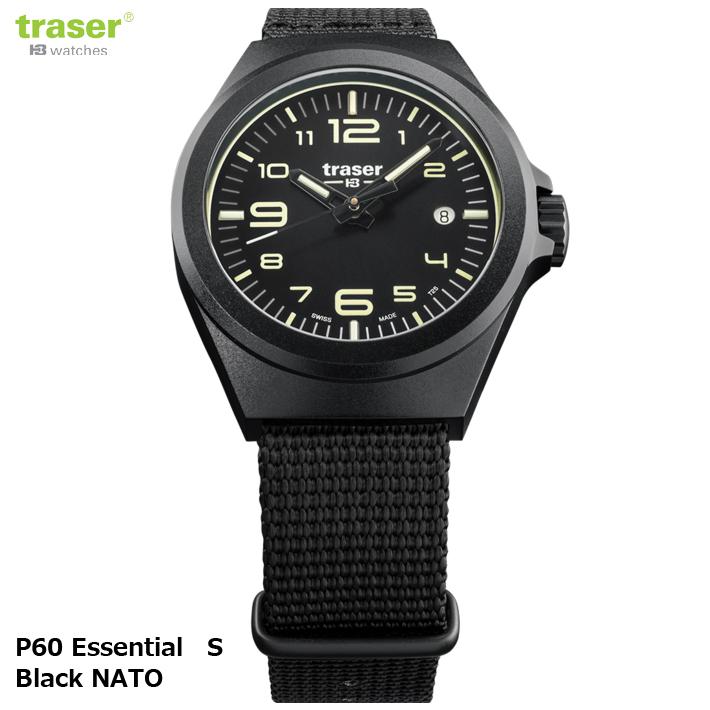 【お取寄せ】 時計 腕時計 ミリタリーウォッチ TRASER P60 Essential S Black NATO 9031579【Pt10】