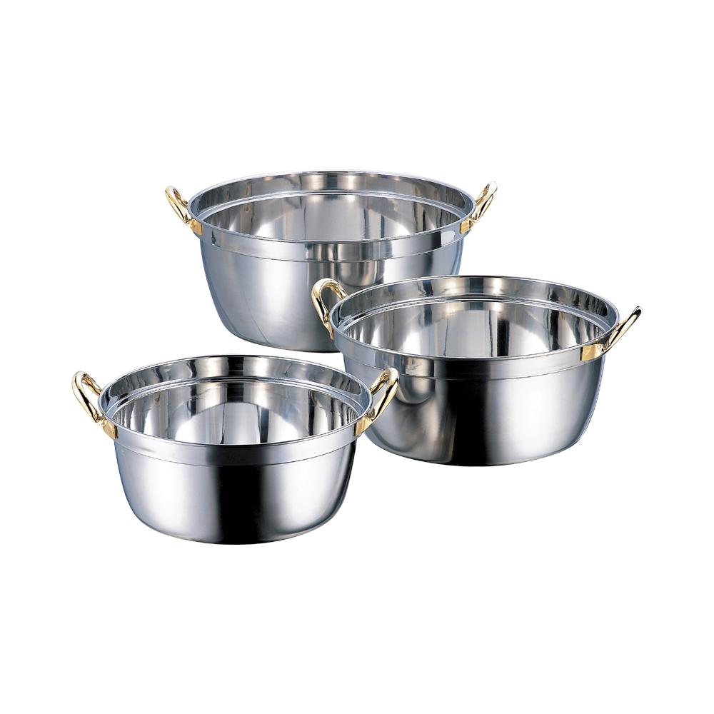 クラッド段付鍋42cm IH対応 ステンレス業務用鍋
