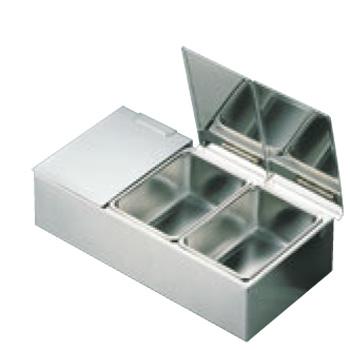 EBM 18-8 セパレートカバー式 ヤクミ入 4ヶ入【保存容器】【薬味入れ】【小分け保存】【厨房用品】【キッチン用品】【業務用】