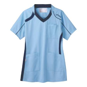 アシックス メディカルウェア CHM301-0309 ペールブルー×ネイビー L【医療用ウェア】【医療用服】【医療用シャツ】