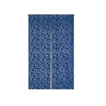 藍染めのれん 花唐草 NID3117-BI【飲食店のれん】【暖簾】