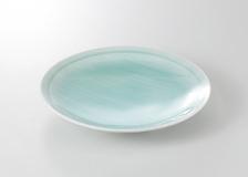 手彫青白瓷 丸尺皿