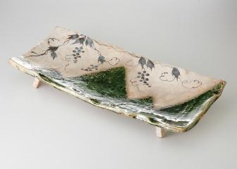 ぶどう絵織部 志野長角盛皿(玉山窯【代引き不可】