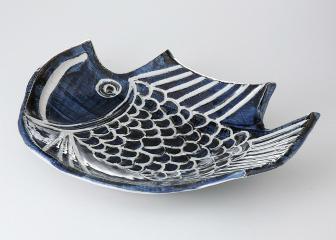 古染魚型 大皿