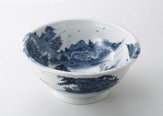 染付け山水 尺一手洗い鉢【代引き不可】