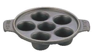 ストウブ エスカルゴディッシュ 6穴 黒 1301523【鉄鋳物】【カタツムリ皿】【業務用】