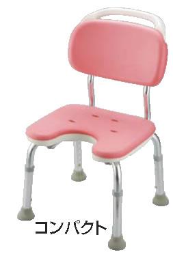 やわらかシャワーチェア ピンク U型背付コンパクト【お風呂椅子】【温泉椅子】【いす】【イス】【業務用】