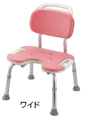 やわらかシャワーチェア ピンク U型背付ワイド【お風呂椅子】【温泉椅子】【いす】【イス】【業務用】