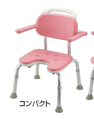やわらかシャワーチェア ピンク U型肘掛付コンパクト【お風呂椅子】【温泉椅子】【いす】【イス】【業務用】