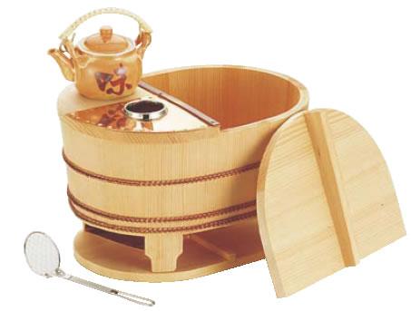 サワラ小判型湯ドーフセット(炭用) US-1025 4~5人用 【代引き不可】【鍋料理】【湯豆腐セット】【湯どうふセット】【業務用】