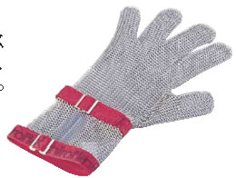ニロフレックス メッシュ手袋5本指(片手) S C-S5白 ショートカフ付【金属メッシュ手袋】【niroflex】【防刃】【特殊手袋】【業務用】