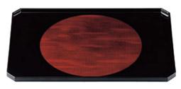 隅切長手布目膳 日月白檀裏黒千筋【お盆】【和風盆】【料理盆】【会席盆】【懐石盆】【本漆盆】【木製盆】【トレイ】【トレー】【B-9-93】